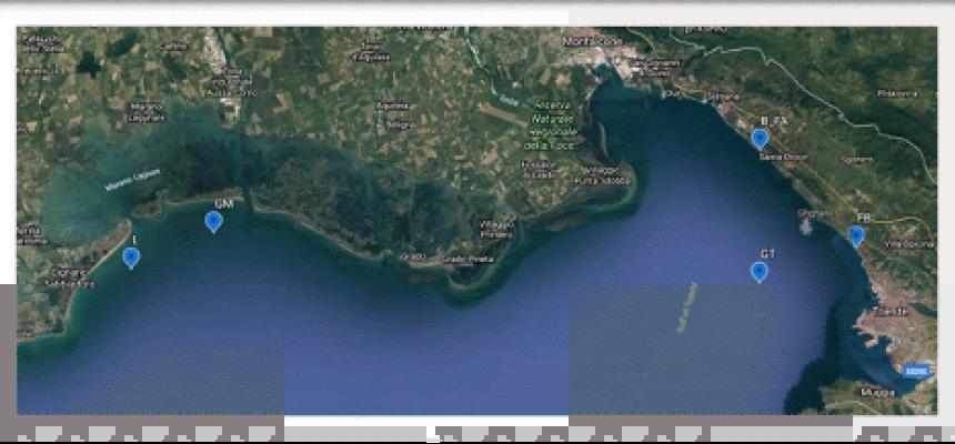 Stazioni di campionamento acque marine, tratto da Google Earth