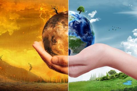 mano pianeta terra