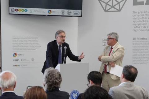 Rettore Fermeglia durante l'inaugurazione di LAMA