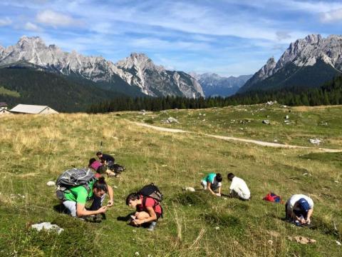 lichenologi al lavoro in montagna